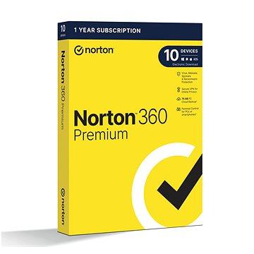 Norton 360 Premium 75GB CZ, 1 uživatel, 10 zařízení, 12 měsíců (elektronická licence) (21405766)