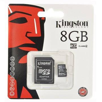 Kingston MicroSDHC 8GB Class 4 + SD adaptér (SDC4/8GB)
